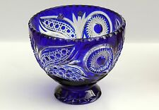 Large CRYSTAL BOWL /FRUIT VASE 21x24 cm, BLUE Cut to clear overlay, RUSSIA, New