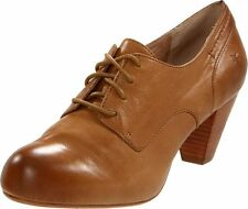 NEW $228 FRYE Lois Camel Tan Leather Oxford Heels Shoes Size 7.5