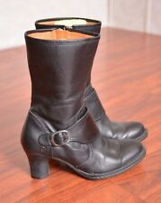 Born Black Leather Mid Calf Boots Monk Strap Cuban Heel W3293 Women's size 6