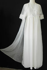 Vtg Wilmot Night Gown/Robe Set Chiffon Ivory  Full Length Lace Trim Size S
