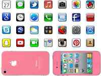 Pink Iphone with 28 App Icons Edible Rice Paper or Icing Birthday Cake Toppers