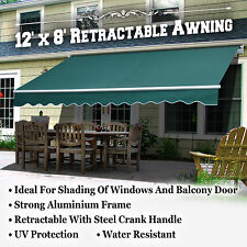 12'x8' Outdoor Manual Yard Retractable Patio Sun Shade Canopy Awning 3 SECTIONS