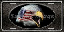 Metal American Flag Eagle on Black Background Novelty Plate (LP-1320)