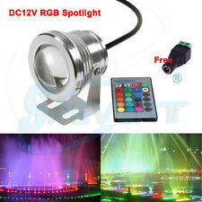 10W RGB LED Underwater Spotlight Flood Light Pool Yard Fountain Lamp IP68 DC12V