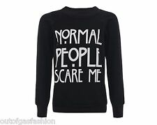 Womens Ladies Normal People Scare Me Print Knitted Sweater Jumper Sweatshirt Top
