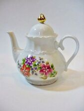 Bareuther Waldsassen Bavaria Germany Floral Teapot with Gold Finial -- Perfect!