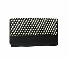 Cole Haan Parker Weave Envelope Clutch Bag Genuine Leather Black/Pavement