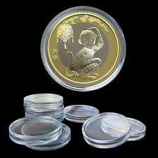 10X 35mm Applied  Clear Round Cases Coin Storage Capsules Holder Round Plastic