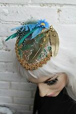 METAL FEATHER CHAIN MAIL BLUE DAISY TEAR DROP FACINATOR HAT ALT PASTEL GOTH