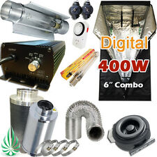 HYDROPONICS Sys 400W 1.2M GROWTENT HPS Digital COOL TUBE LIGHTING COMBO Silencer