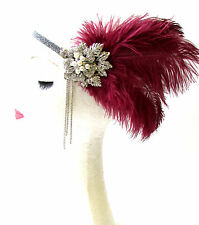 Burgundy Red Maroon Silver Feather Headpiece 1920s Flapper Headband Vintage 1660