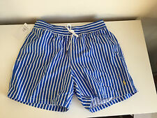 POLO RALPH LAUREN SIZE M MEDIUM MENS BLUE WHITE STRIPED SWIMMING SWIM SHORTS