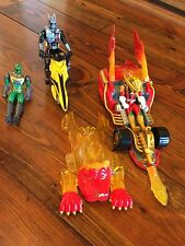Power Rangers Mystic Force Mobile Lion Furry With 3 Rangers And I Motorcycle EUC