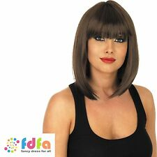 LADIES BROWN SHORT STRAIGHT FRINGE WIG HALLOWEEN - womens fancy dress accessory