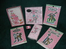 Kitty Cat Gift Package - 3 French Kitty Appliques Note Cards Napkins Meow Ribbon