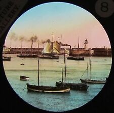 Glass Magic Lantern Slide MARINE HARBOUR SCENE C1890 ENGLAND BOATS