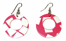 PINK / WHITE LADIES ASBTRACT HOOP EARRINGS 80s inspired Stand Out (ZX10 TRAY)