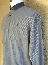 Ralph Lauren Polo Shirt Large 100% Heavy Cotton Gray Stripes C42