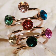 5CT Emerald Ruby Sapphire Peridot Citrine Topaz Gold Spring Ring Size 8.5 GR264