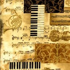 All That Jazz Metallic Music Composers Holiday Gold Cotton Fabric Fat Quarter