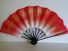 "Japanese Geisha Hand-Made Red W/Gold  ""Odori"" Dance Hand Held ""Sensu"" Fan/Weight"