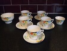 vintage art deco radfords crown china 5 cups and 5 saucers sugar bowls flowers