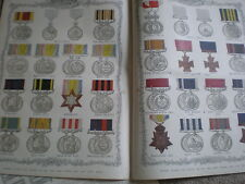 British Navy Army medals of the last 50 years 1890 old colour print