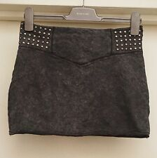 River Island Grey Studed Mini Skirt With Zipper Size 10