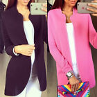 Women Lady Fashion Casual Parka Long Sleeve Blazer Coat Overcoat Jacket