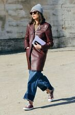 ABRIGO POLIPIEL ZARA BURGUNDY/ LEATHER COAT JACKET ZARA / SINCERELY JULES