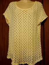 TOPSHOP 100% Cotton Ivory Crew Neck See-Through Knit Cap Sleeve Shirt Top 6