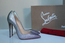 New sz 6.5 / 37 Christian Louboutin So Kate Silver Glitter Pointed Toe Pump Shoe