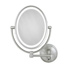 Zadro LOVLW410 1X 10X Cordless DUAL LED Lighted Oval Wall Mount Make Up Mirror