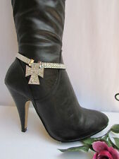New cowgirl women silver rhinestones chains boots strap cross western shoe charm