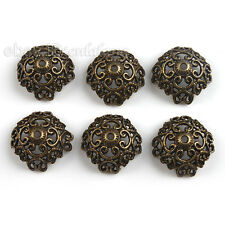 60x Hot Vintage Bronze Flower Alloy Beads End Caps Findings Fit Jewelry Making L