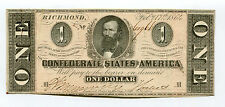 1864 Confederate States of America $1One Dollar Note CH CU