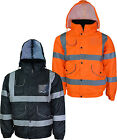 High Visibility Bomber Jacket Hi Vis Workwear Waterproof Big Sizes Small To 4XL