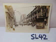VINTAGE 1920'S CHINA POSTCARD PICTURE SHANGHAI STREET CAR SCENE-PEOPLE-BUILDINGS