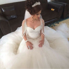 Luxury Pearls Mermaid Wedding Dress Bridal Gown Shinning Custom Made Plus 2-28