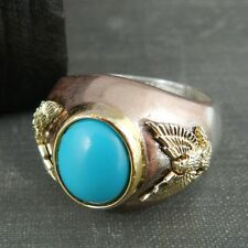 FM Sterling Silver, Rose Gold & Gold Eagle w/ Turquoise Stone Ring - Size 8.25