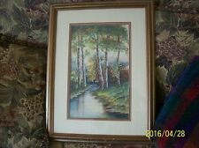 M.L. Brooks Watercolor Forrest Painting Framed Under Glass
