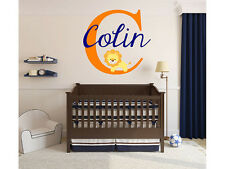 "Baby Lion Name Monogram Nursery Room Vinyl Wall Decal Graphics 15"" Tall"