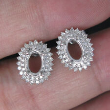 Oval Cut 5x7mm Solid 14k White Gold Natural Diamond Semi Mount Setting Earrings