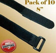"10 x 8"" Black Fastener Cable Tie Down Straps Reusable Cord Hook & Loop Fabric"