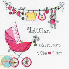 Cross Stitch Kit RIOLIS It's a Girl Birth Record Baby Carriage & Clothes #R1417