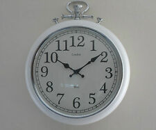 Large Round Vintage White Chrome Effec Silver London Pocket Fob Watch Wall Clock