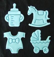 12 X BLUE EDIBLE BABY SHOWER CUPCAKE TOPPER / DECORATIONS