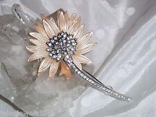 Stunning New Nolan Miller Silver Tone Metal Crystal Daisy Pin Brooch
