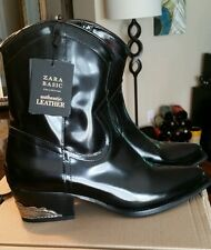 $159 NEW Zara Black Authentic Real Leather black Cowboy Boots Ankle US 6, EU 36