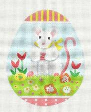 Melissa Shirley Easter Mouse Egg handpainted Needlepoint Canvas Classic Ornament